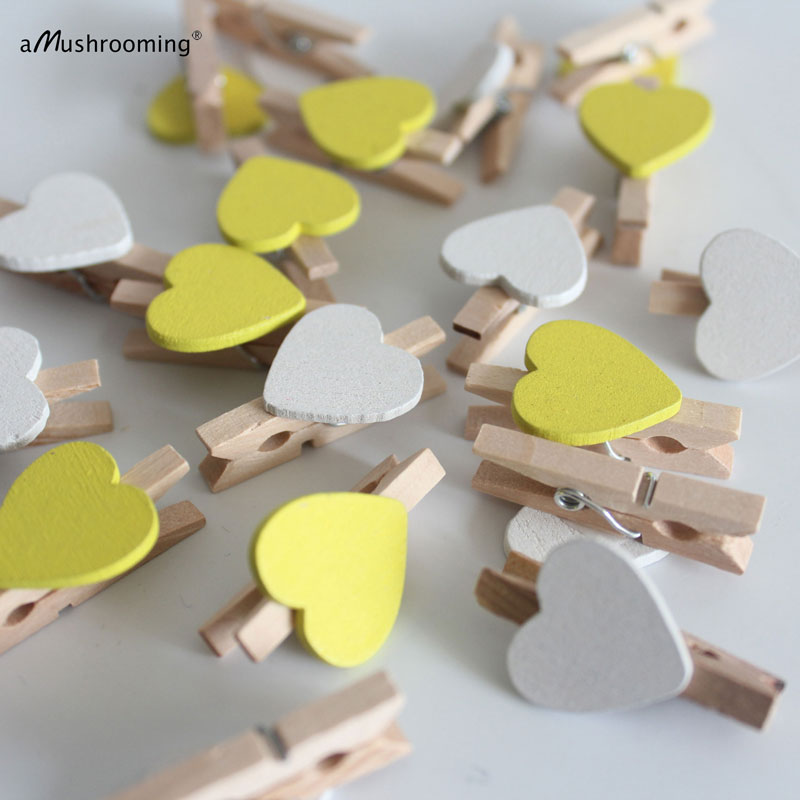 30mm Yellow Mini Clothes Pegs /& 18mm Yellow Hearts Craft For ShabbyChic Wedding