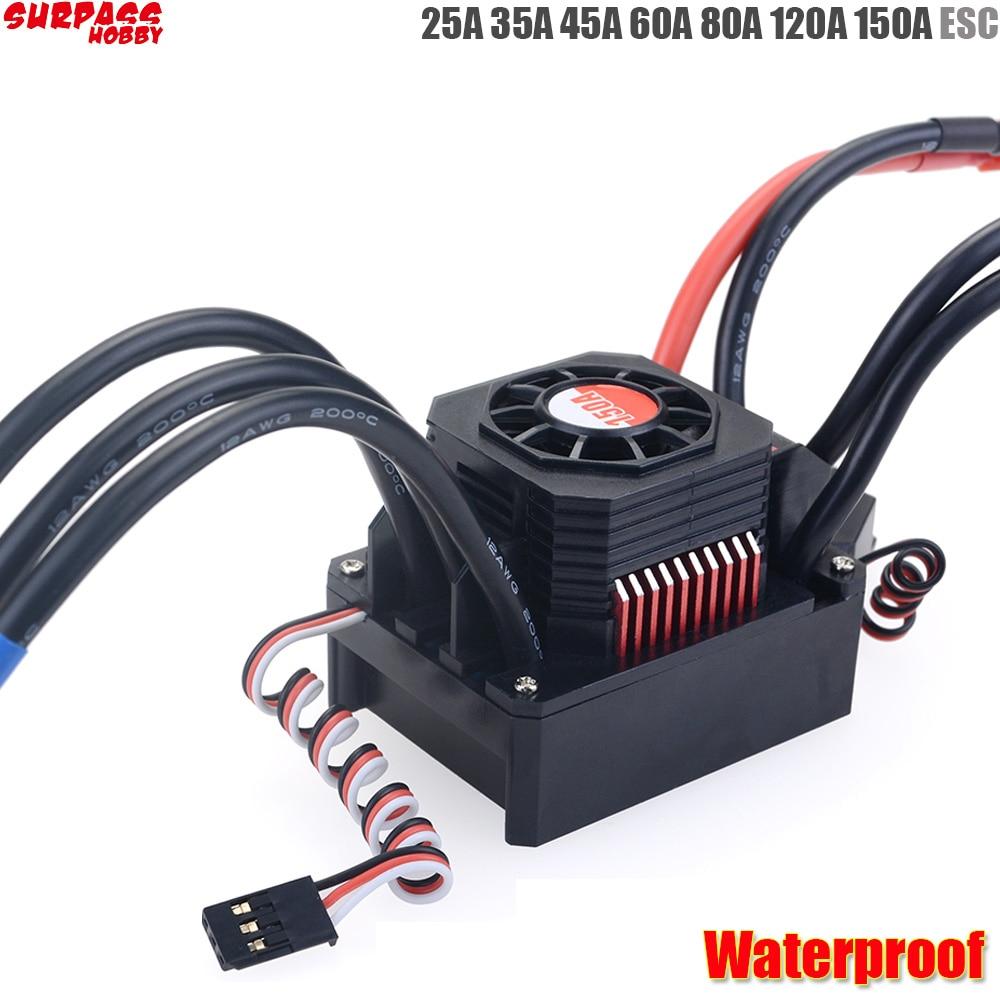 Waterproof 25A 35A 45A 60A 80A 120A 150A ESC Brushless Senseless Speed Controller for 1/8 1/10 1/12 1/20 RC Car