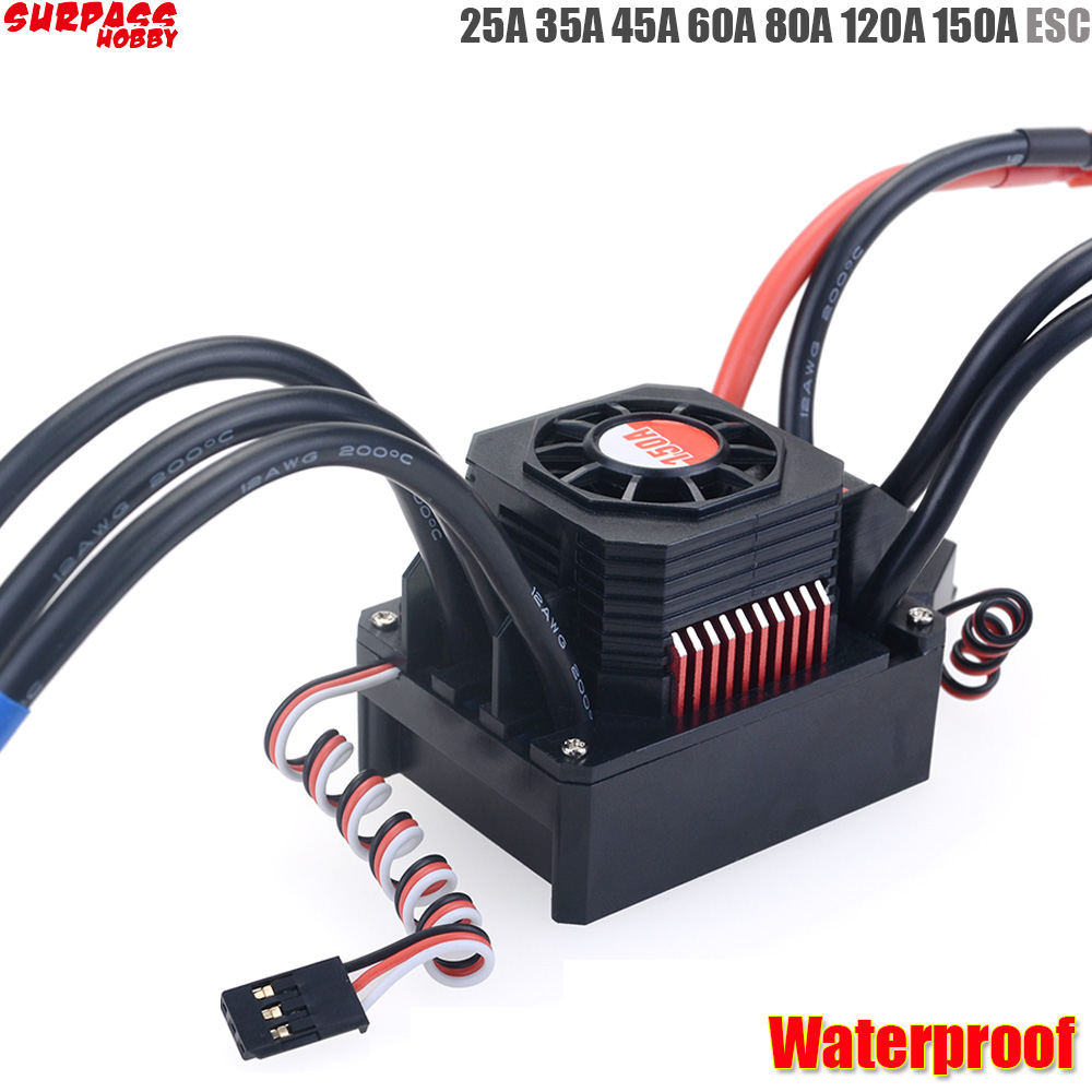 Waterproof <font><b>25A</b></font> 35A 45A 60A 80A 120A 150A <font><b>ESC</b></font> Brushless Senseless Speed Controller for 1/8 1/10 1/12 1/20 RC Car image