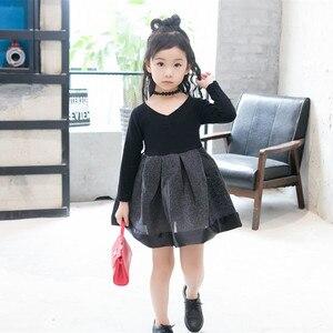 Image 2 - 2018 אביב אופנה ילדה נסיכת שמלת מסיבת חתונה שמלות ילד קוריאני שחור Shoulderles ארוך שרוולים רשת נסיכת שמלת 2 7Y