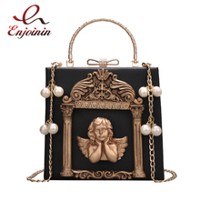 Luxury fashion Cupid decals box shape pu leather pearl chain shoulder bag handbag party purse women's crossbody messenger bag