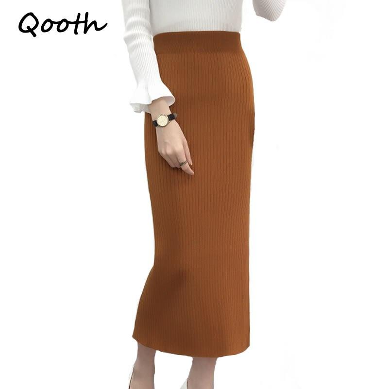 Qooth Autumn Winter Knitting Skirt High Waist OL Long Pencil Skirt Women Open Slit Knitted Casual Midi Skirt 9 Colors QH1020
