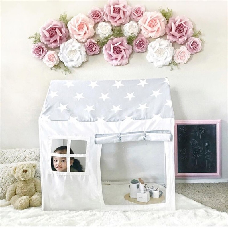 Children Furniture Nordic Style Childrens Indoor Tent Game House 100% Cotton Canvas Princess Castle Play House Toys Boys And Girls Baby Gifts Limpid In Sight Children Furniture Sets