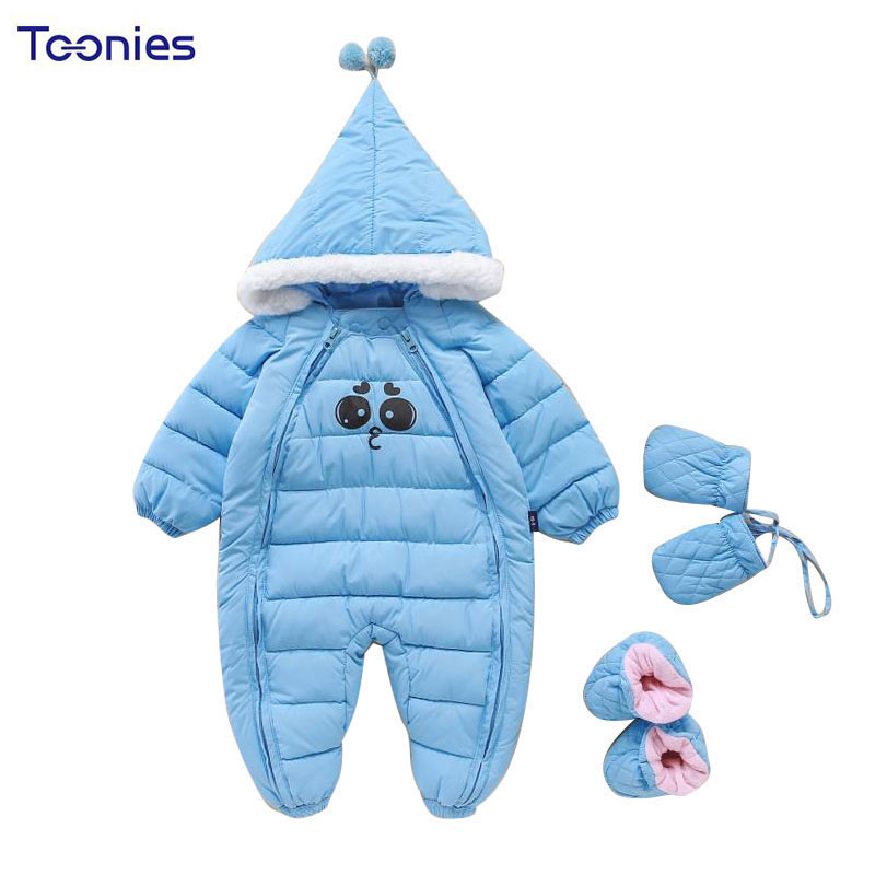 цена на Newborn Baby Boys Clothing 2017 Infant Girls Romper Winter Thicker Clothes Solid Hooded Rompers Warm Cotton Jumpsuit Kids Wear