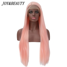 JOY&BEAUTY 12-28 Long Straight Heat Resistant Hair Pink Color Cosplay Synthetic Lace Front Wigs For Women Party Present