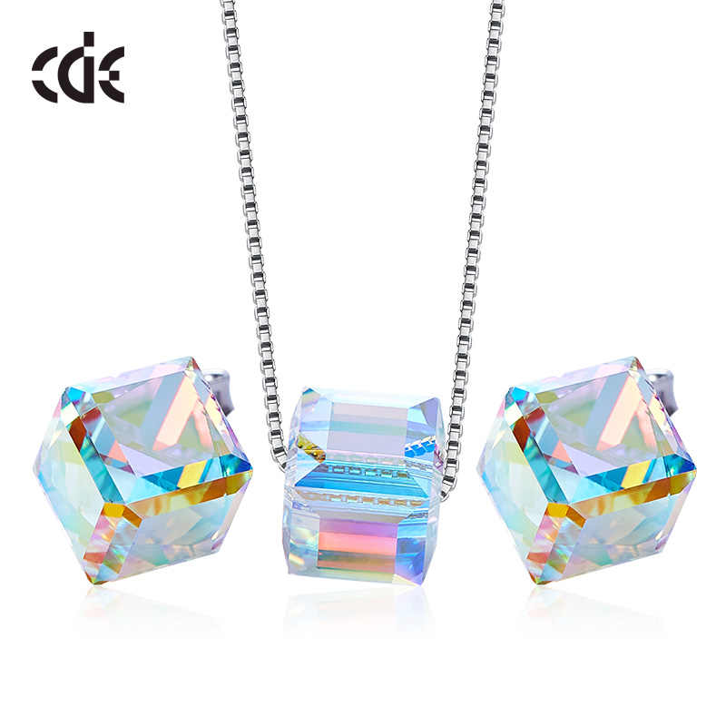 CDE 925 Sterling Silver Jewelry Set Women Embellished with crystals from Swarovski Cube Sugar Jewelry Set Valentine's Day Gift