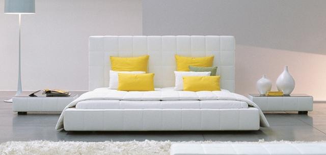 2017 nueva alta cama dormir cama de cuero moderno contemporáneo simple a cuadros blanco muebles de dormitorio de matrimonio Hecho en China