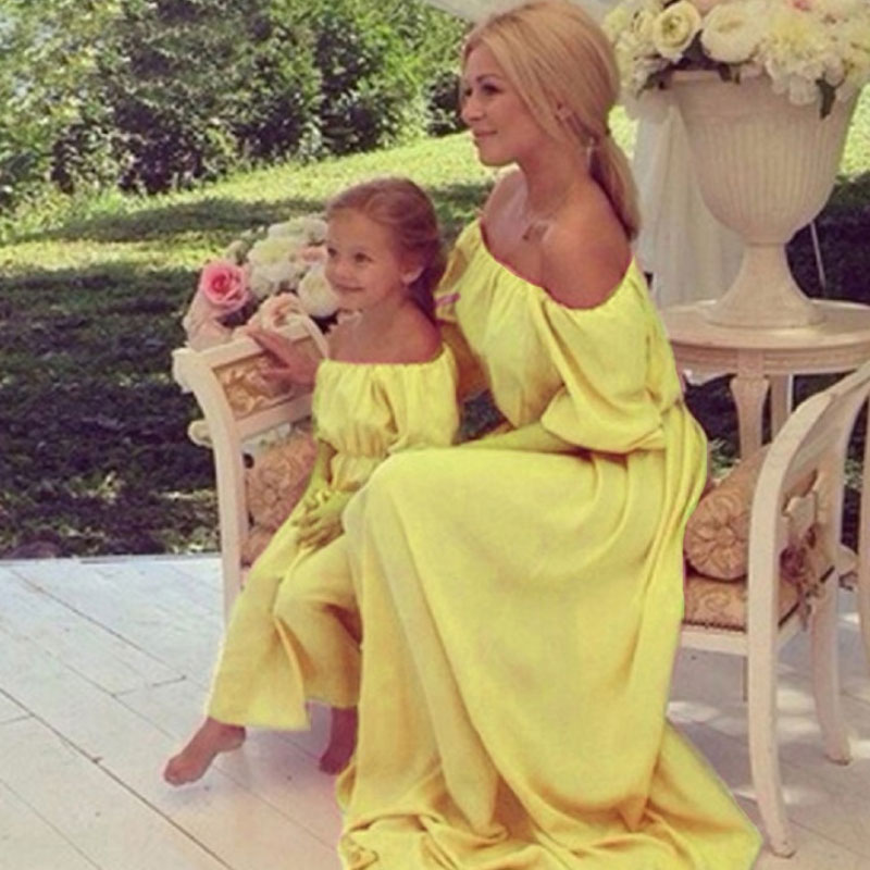 Mother And Daughter Dresses Chiffon Long Bare Shoulder Dress Family Look Mommy And Me Elegant Ground Dresses