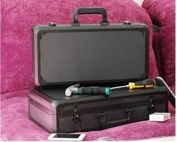 Caja de Herramientas de aluminio maleta Caja de Herramientas caja de archivo resistente al impacto caja de seguridad equipo de cámara con forro de espuma precortado