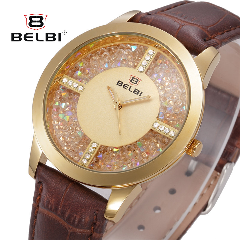 BELBI Brand Fashion Women Watches Gold Ladies Casual Quartz Leather Watch Female Clock montre relogio feminino WristWatch Women swiss fashion brand agelocer dress gold quartz watch women clock female lady leather strap wristwatch relogio feminino luxury