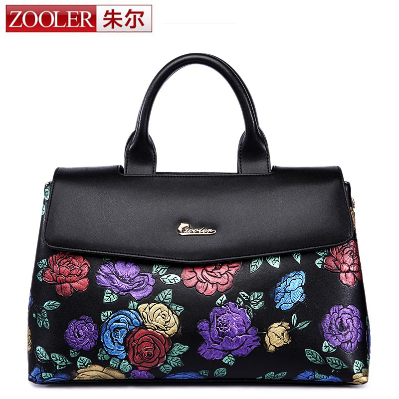 ZOOLER Luxury Genuine Leather Designer Women Bags Handbags Embossed Colored Flower Brand Lady Tote Bag Retro Vintage Female Bag 2017 new arrival designer women leather handbags vintage saddle bag real genuine leather bag for women brand tote bag with rivet
