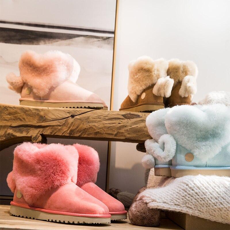 2008 Nouveau Hiver Neige Bottes en peau de Chèvre et De Fourrure Nom Commun avec Amour en forme de Slip-preuve et Suede Coton chaussures Bottes
