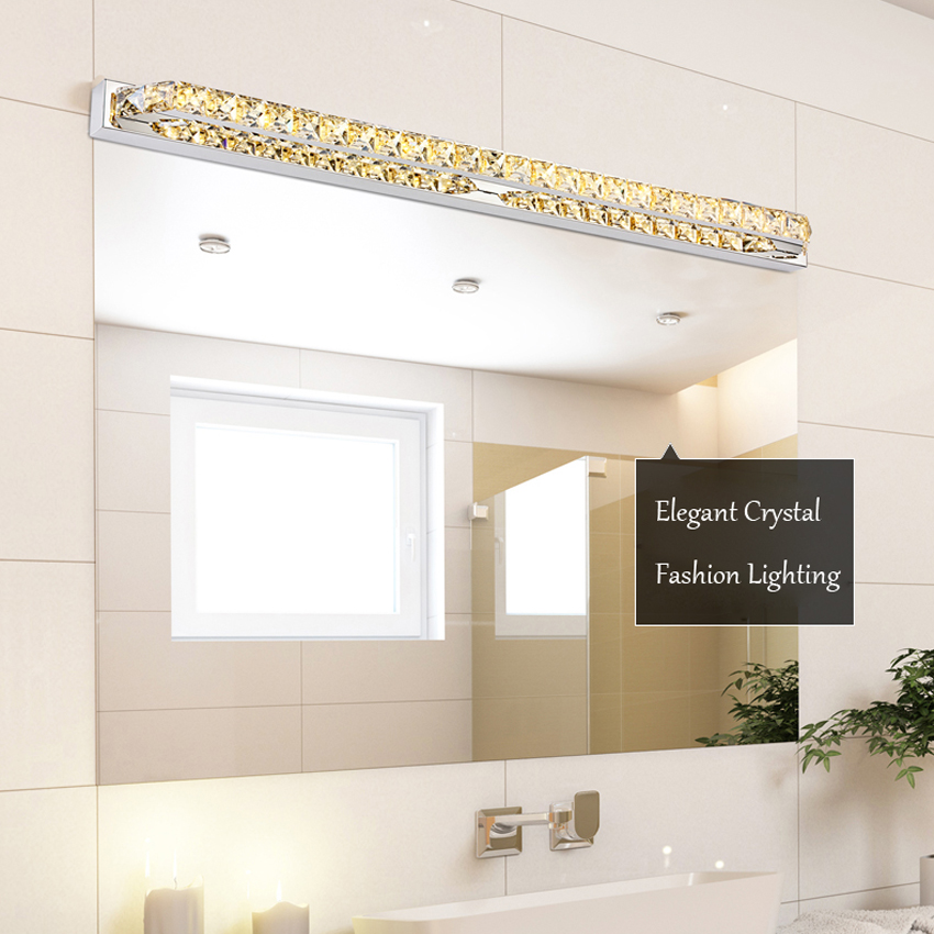 ФОТО Elegant Mirror Front Light 10W 14W Crystal Bathroom Wall Light AC110V/220V Indoor Stainless Steel  Vanity Light