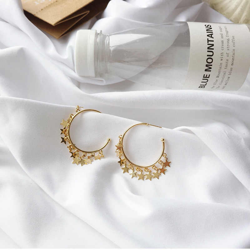 Korean Boho New Exaggeration Fashion Gold Star Tassel Metal Geometric Semicircle Hoop Earrings For Women Jewelry Orecchini Party