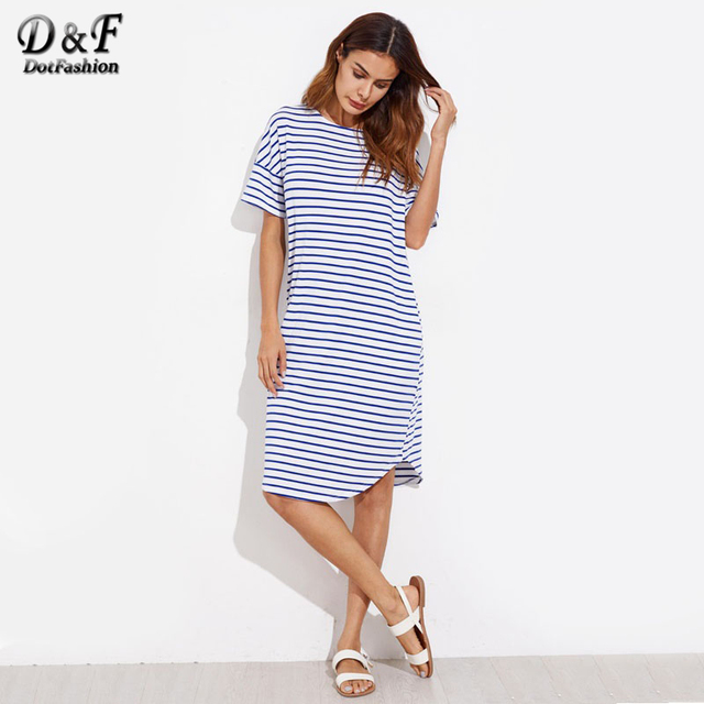 Dotfashion Curve Hem Striped Tee Dress Female Short Sleeve Knee Length  Tunic Dress Blue Round Neck Ladies Shift Dress 0252bc99d8d3