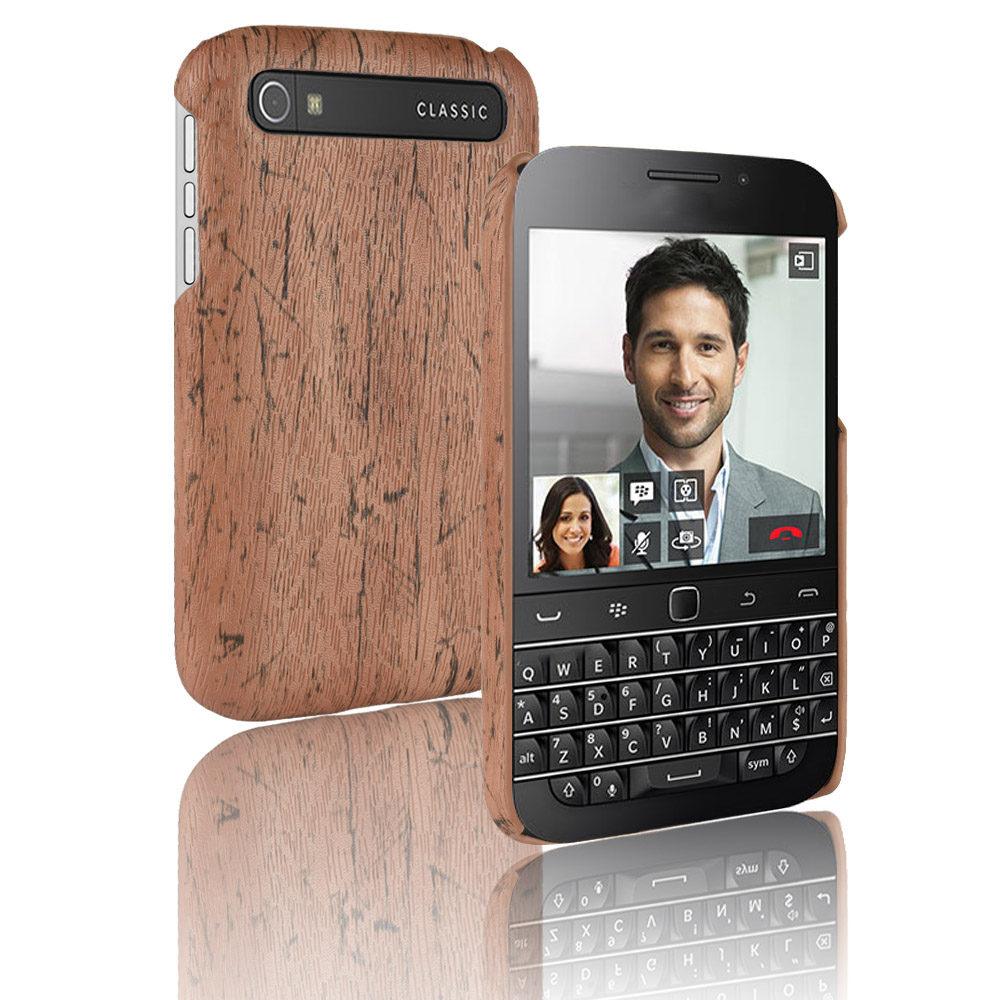 For Blackberry Classic Q20 Woodern Skin Retro Leather Case Luxury Cover Shockproof Hard Shell For BB Q20 Phone Cases Fundas Bag