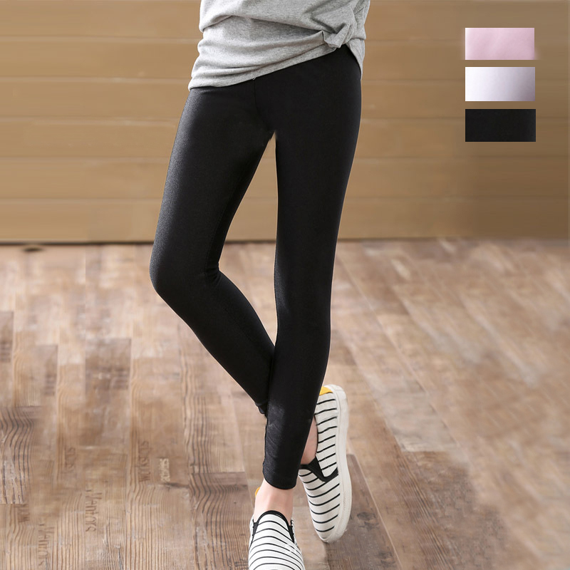 2-14 Years Girls Skinny Long Pants Shiny Black White Pink Children Bottoms Leggings Kids Elastic Trousers All-matches Leggings 1