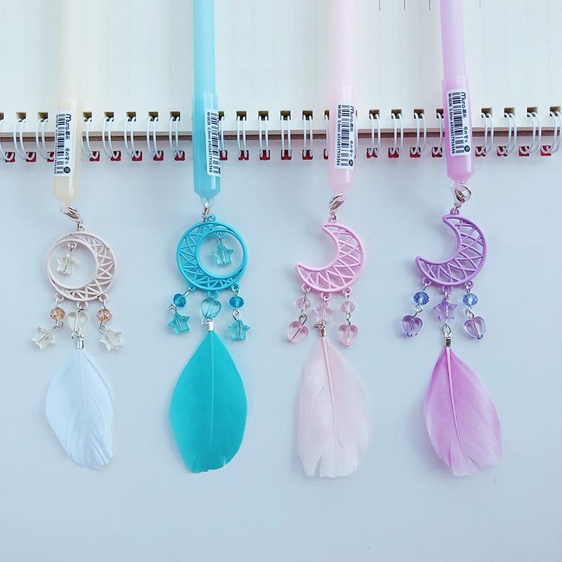 Cute Feather Pen Kawaii Neutral Pens Creative Moon Pendant Gel Pen For Girls Gifts School Office Supplies Writing Stationery