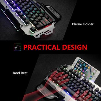 RedThunder K900 RGB Gaming Keyboard Mechanical Similar Russian Spanish French Multilingual Metal Cover for Tablet Desktop 5