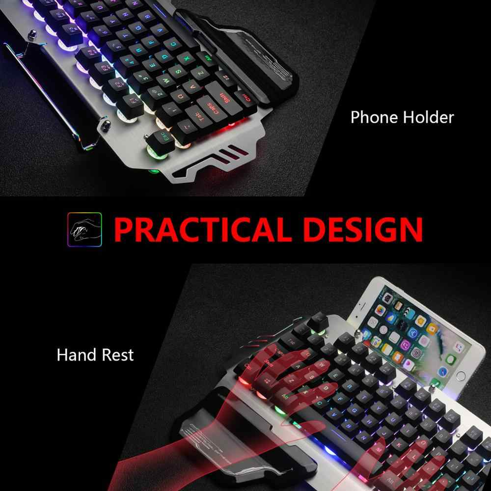 RedThunder K900 RGB ゲーミングキーボード機械式同様ロシアスペインフランス多言語金属カバータブレットデスクトップ