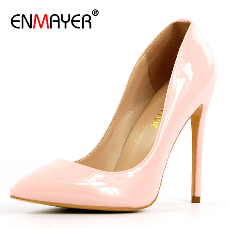 ENMAYER Women Shoes High Heel Pointed Toe Summer Pumps Shoes Woman Plus Size 35-46 Black Office&Career Shoes Pumps Womens enmayer cross tied shoes woman summer pumps plus size 35 46 sexy party wedding shoes high heels peep toe womens pumps shoe