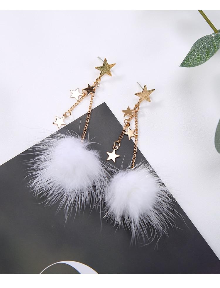 Mink Fur Pom Pom and Star Drop Dangle Earrings