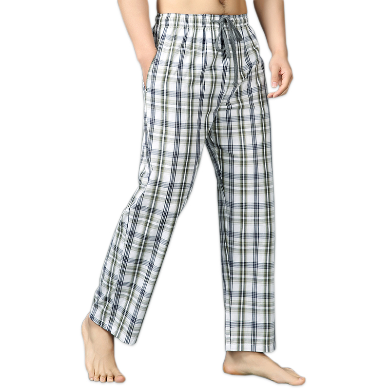 Summer 100% cotton sleep bottoms men simple pijamas sleepwear trousers casual plaid sheer men home pants Plus size XXL 100KG