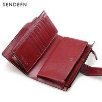 Sendefn Multifunctional Women Leather Wallet Long Style Pochette Zipper Wallet Card Holder Phone Pocket Women Purses