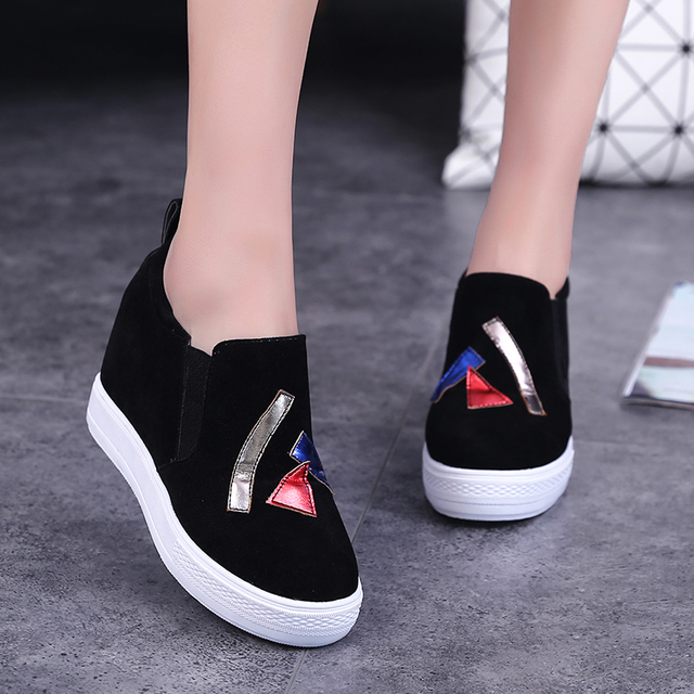2016 New Fashion Height Increasing Casual Shoes Women All-match Lazy Korean Thick Bottom Canvas Shoes Women Loafer Zapatos Mujer