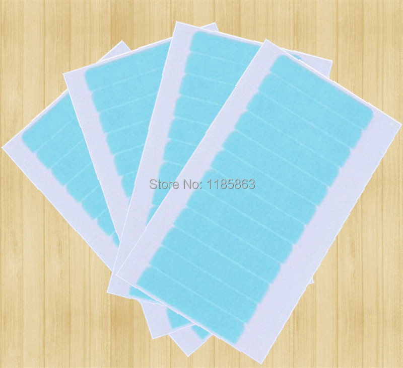 24 шт./1 лот 4 см * 0.8 см Высокое качество сильный двойной синий супер клейкой ленты для утка кожи pu инструментов для волос человеческих