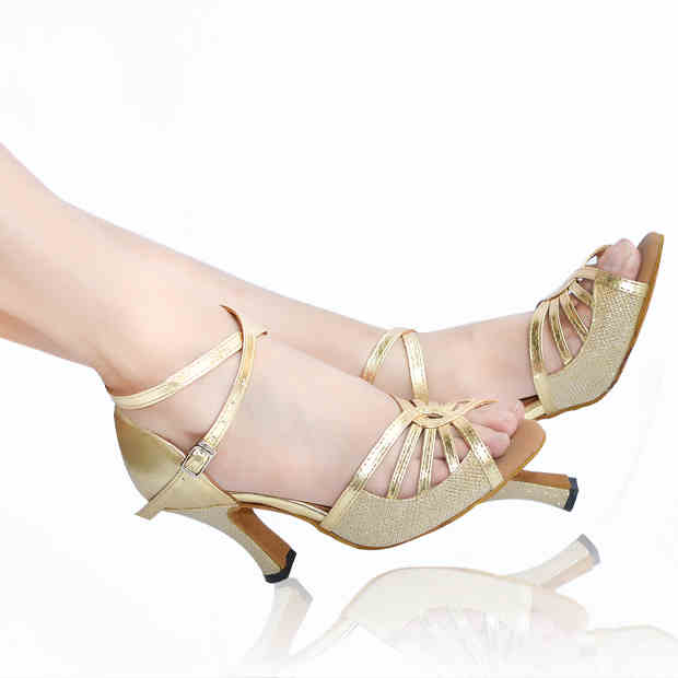 ФОТО 2017 Brand Gold Silver PU upper Women's Latin dance shoes Party Salsa square shoes latin dancing shoes  6412