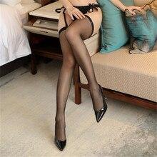 Горячие сексуальные чулки для женщин, прозрачное эротическое белье, сексуальные 10D тонкие чулки до бедра для подвязок с поясом, Длинные Чулочные изделия
