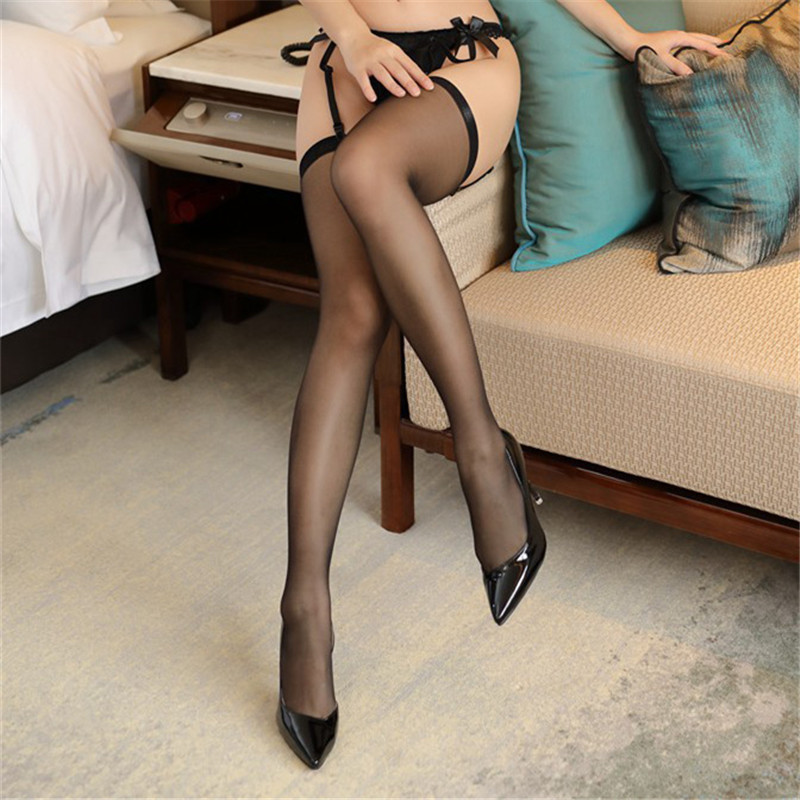 Hot <font><b>Sexy</b></font> Stockings For Women Transparent Erotic Lingerie <font><b>Sexy</b></font> 10D Thin Stay Up Thigh High Stockings For Garter Belt Long Hosiery image