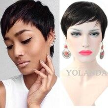 7A Brazilian virgin human pixie hair wigs short pixie cut full lace wig Glueless None lace wigs Lace front wigs for black women
