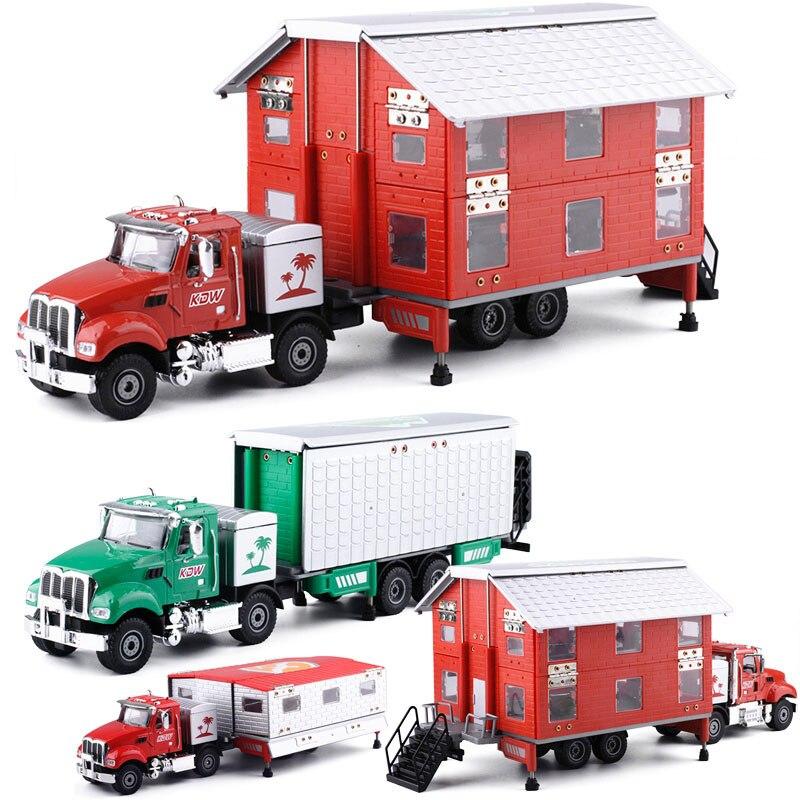 KDW 1:50 Double couche Transformation voiture de tourisme jouet en alliage caravane modèle camion enfants jouets dépanneuses