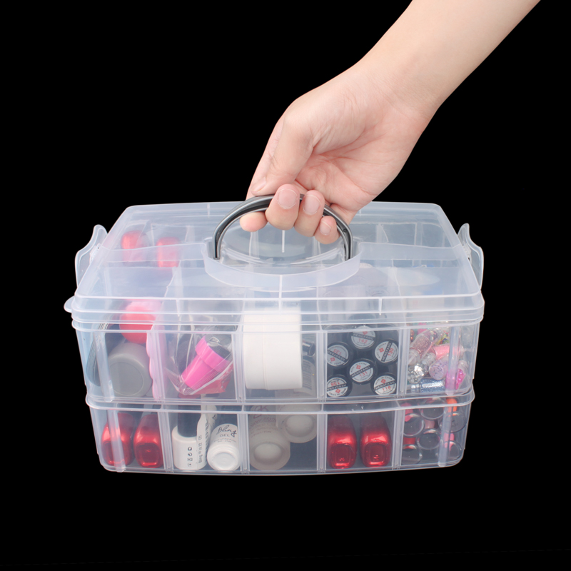 For Transpa Nail Plastic Storage Box Case Rack Maicure Tools Universal 2layer Polish Holder In Art Equipment From Beauty Health On