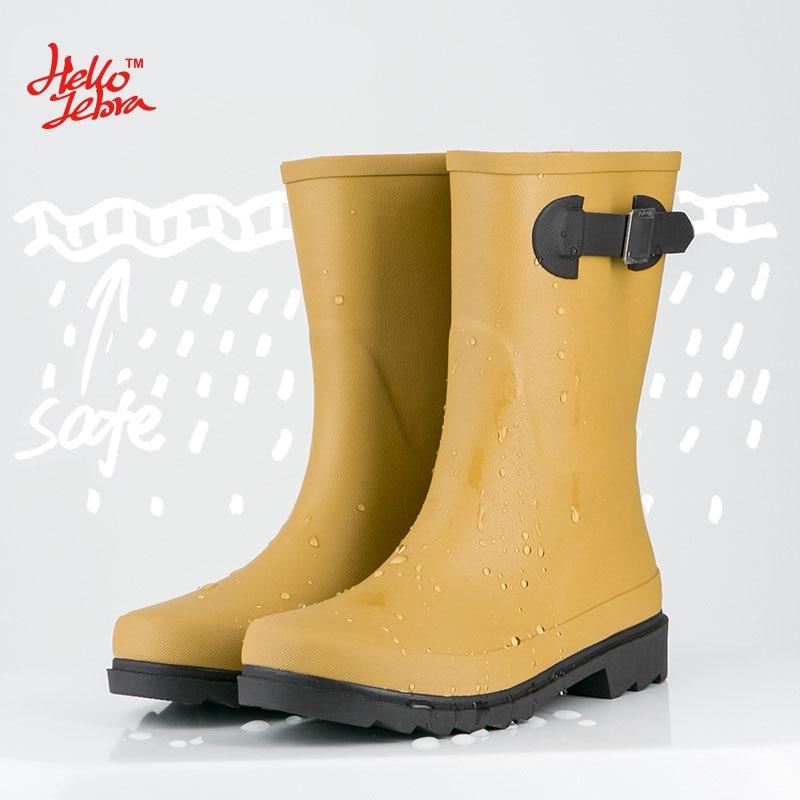 Hellozebra Women font b Rain b font font b Boots b font Fashion Simple Solid Color