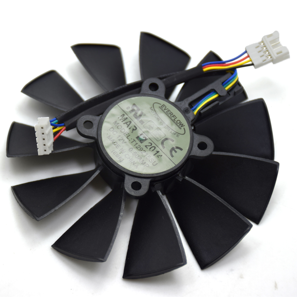 95MM 4PIN 5PIN Everflow T129215SU DC 12V 0.5AMP Graphics Card Fan Replacement For ASUS GTX780/780TI R9280/290/280X/290X Cooler everflow 85mm t129215su 4pin cooling fan replace for asus gtx 460 hd 6790 6870 graphics card cooler fans diy