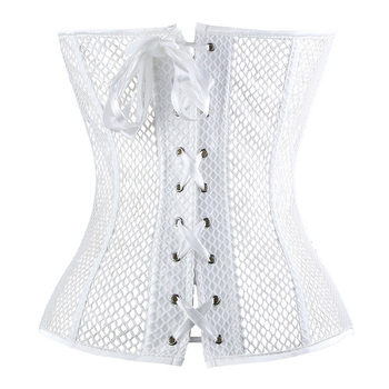 Lace Corset Sexy Bustier Mesh Corselet Summer Underwear Clothing Black White Lingerie G-string Slimming Party Outfits S-2XL 4