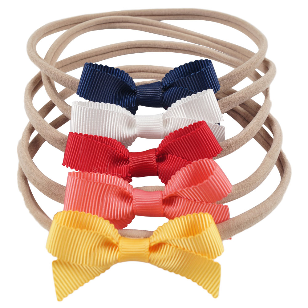 5Pieces/Set Elastic Nylon Headband For Kid Girls Solid Ribbon Knotted Bow Hairband Hair Accessories Headwear knotted bow gingham headband 2pcs