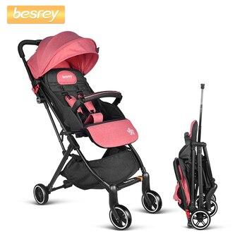 0c43aadbb Besrey ligero cochecito de bebé recién nacido Buggy en cuatro ruedas  cochecito de bebé infantil transporte niños plegable cochecito