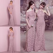2017 New Pink Lace Off shoulder Two Pieces Mermaid Bridesmaid Dress Floor Length Maid of Honor Wedding Guest Gowns BD219