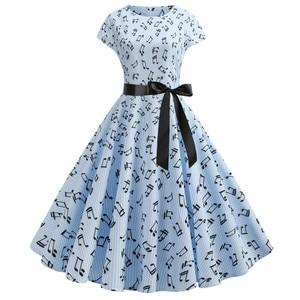 New Music Note Print Dress 50s Vintage Casual Elegant Print O Neck Party Work Office Dress Retro Rockabilly Vestidos