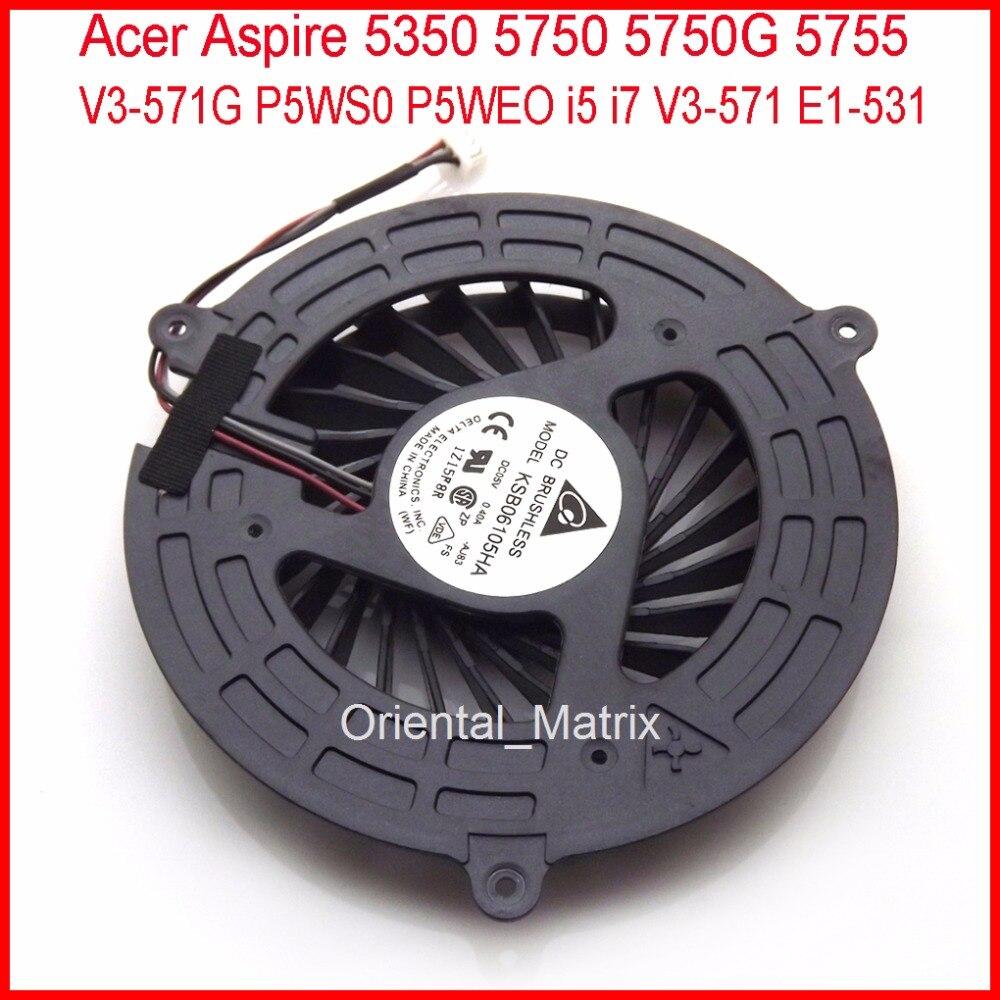 Free Shipping KSB06105HA-AJ83 Fan For Acer Aspire V3-571G 5350 5750 5750G 5755 P5WS0 P5WEO i5 i7 V3-571 E1-531 CPU Cooling Fan new for acer aspire v3 551g cpu cooling fan heatsink with free thermal paste free shipping