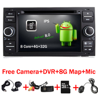 7 Black Piano 2 din Android 8.0 Car DVD Player for Ford Focus Kuga Transit Fusion GALAXY 4G Wifi 8 Core Bluetooth Free map DVR
