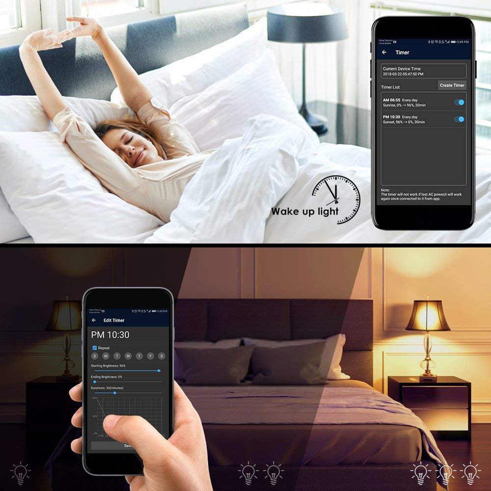 ブランド新スマート電球、 2 ピースウェイクアップ無線 lan 、携帯電話制御色調整可能なソフト、クールホワイト、 RGB LED 電球 4.5