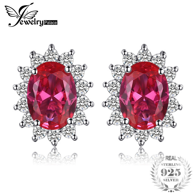 Jewelrypalace Princess Diana William Kate Middleton S 1 5ct Created Red Ruby Stud Earrings 925 Sterling Silver
