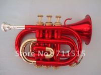 Beautiful RED Gold Bach Bb Pocket Trumpet flugelhorn , professional trumpets mouthpiece trompeta instruments
