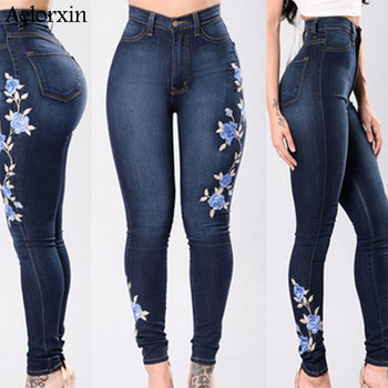 2019 Jeans for Women Embroidery High Waist Jeans Woman Blue Denim Pencil Pants Stretch Waist Trousers for Women High Waist Jeans 2019 jeans for women embroidery high waist jeans woman blue denim pencil pants stretch waist trousers for women high waist jeans
