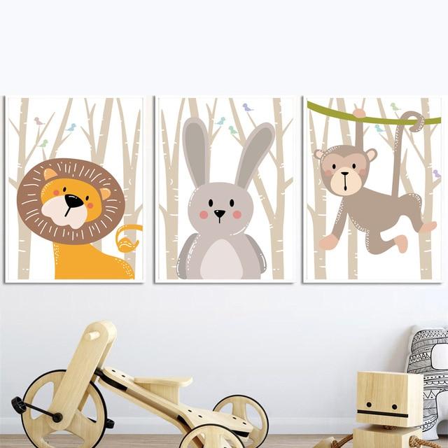 Forest Bird Fox Bear Lion Deer Rabbit Wall Art  2